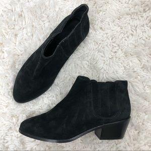 Joie Barlow Black Suede Stacked Heel Ankle Booties